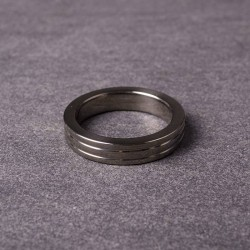 Cockring Ribbed - Black Steel - 10mm Wide - 55 mm
