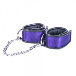 Kiotos Deluxe - Anklecuffs with Metal Connector Chain - Purple